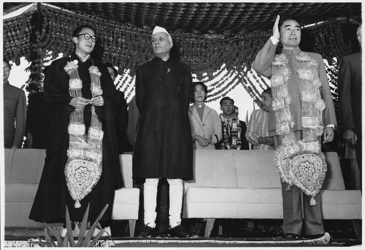 Dalai lama, Pandit Nehru and Zhou Enlai in 1956