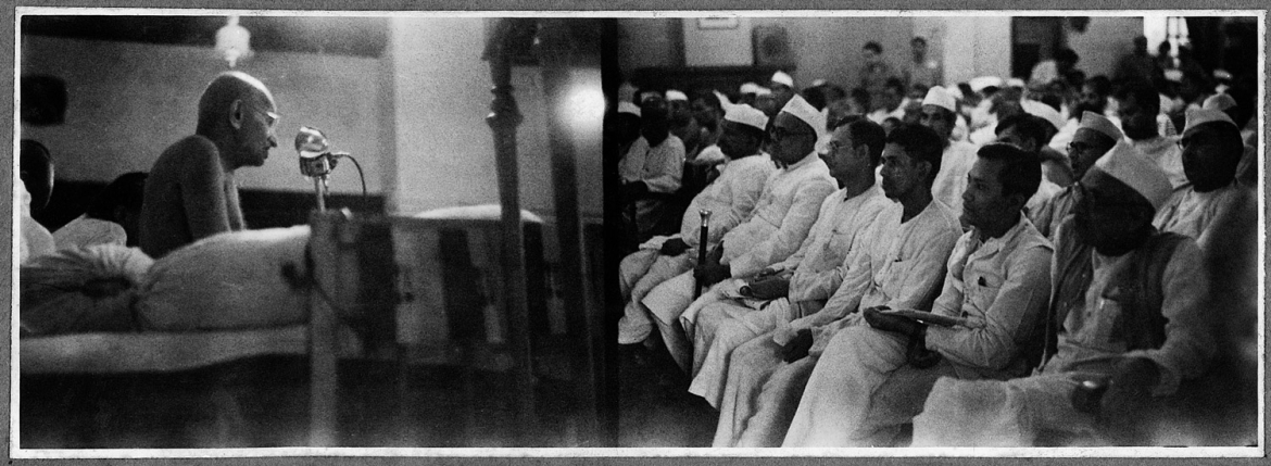 Mahatma Gandhi Addressing Congress Committee Delegates