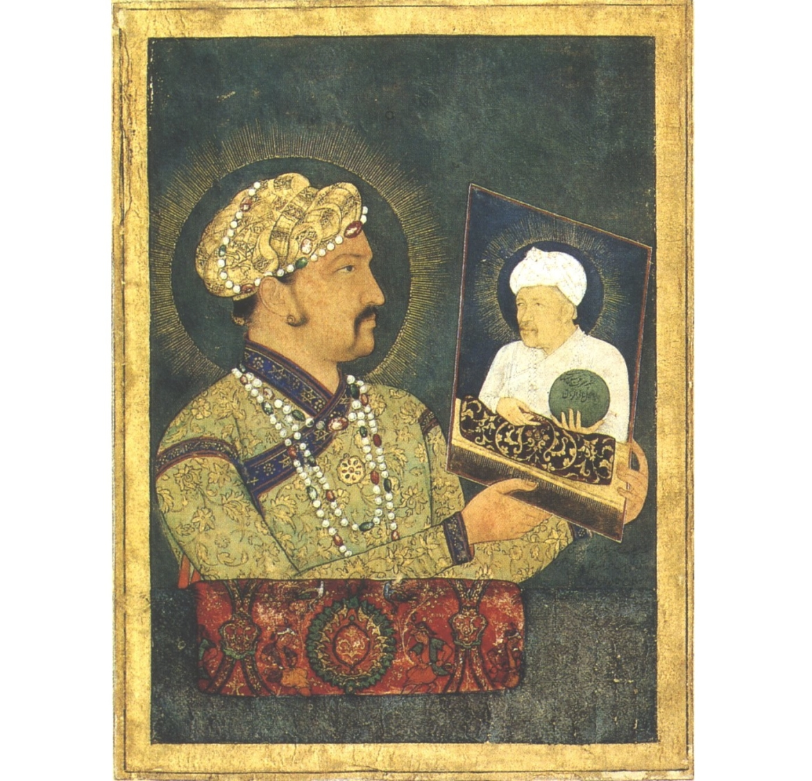 Jahangir with portrait of Akbar