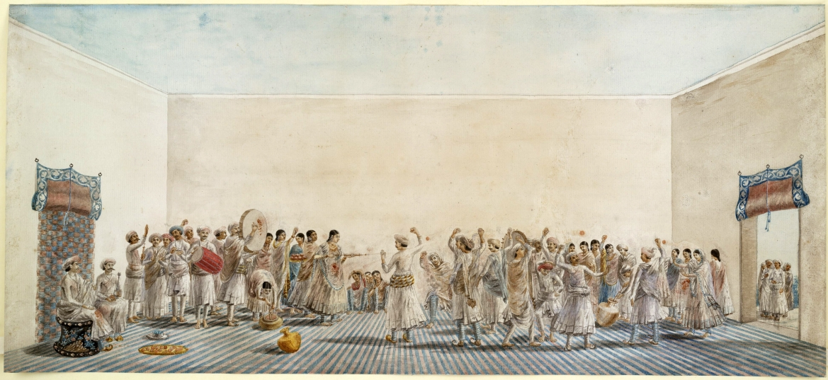 Holi being played in the courtyard, ca. 1795 painting
