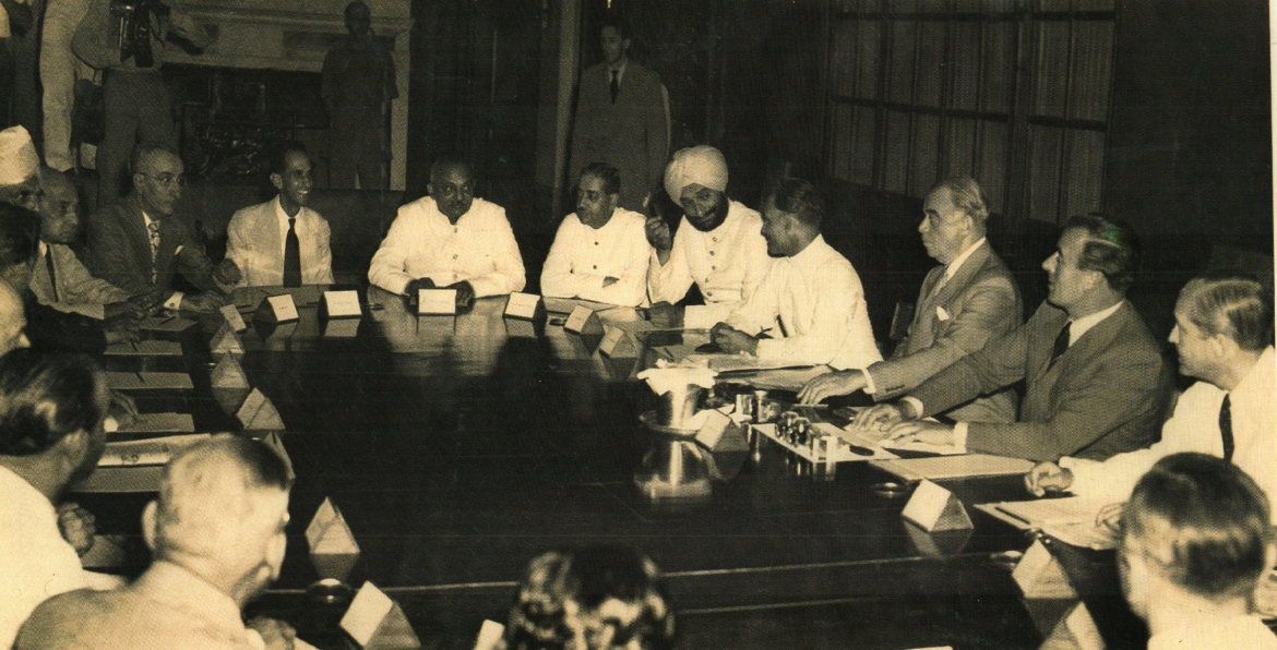 From Left to Right: Jamsaheb of Nawanagar, Maharawal of Dungarpur, Maharaja of Patiala, Nawab of Bhopal (Chancellor of Chamber of Princes), Lord Ismay, Viceroy Lord Mountbatten, and Sir Conrad Corfield in a meeting of princes on June 3, 1947