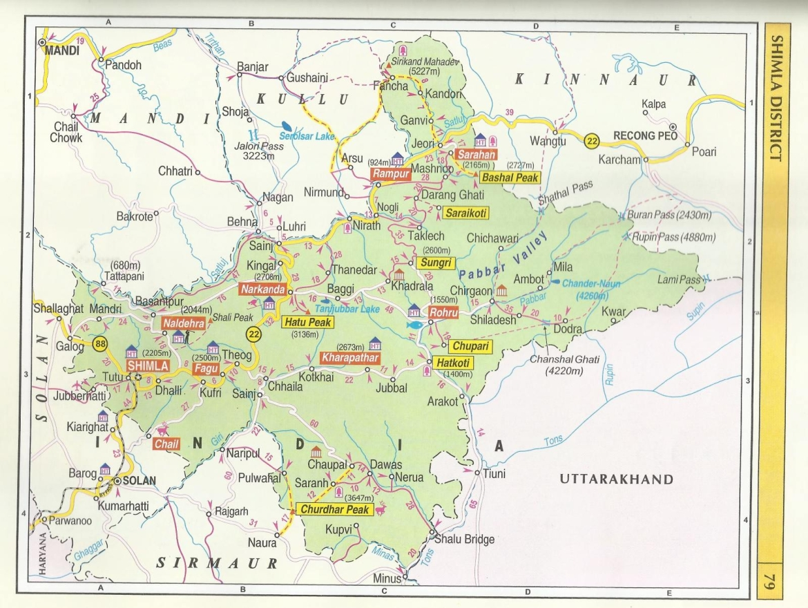 Map showing state of Himachal Pradesh