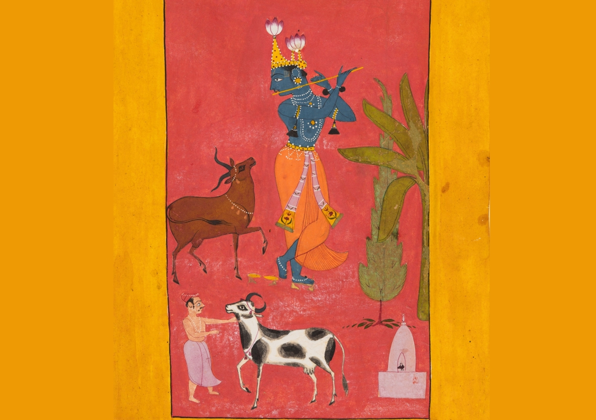 Krishna playing the flute, 1665 (Bundi)