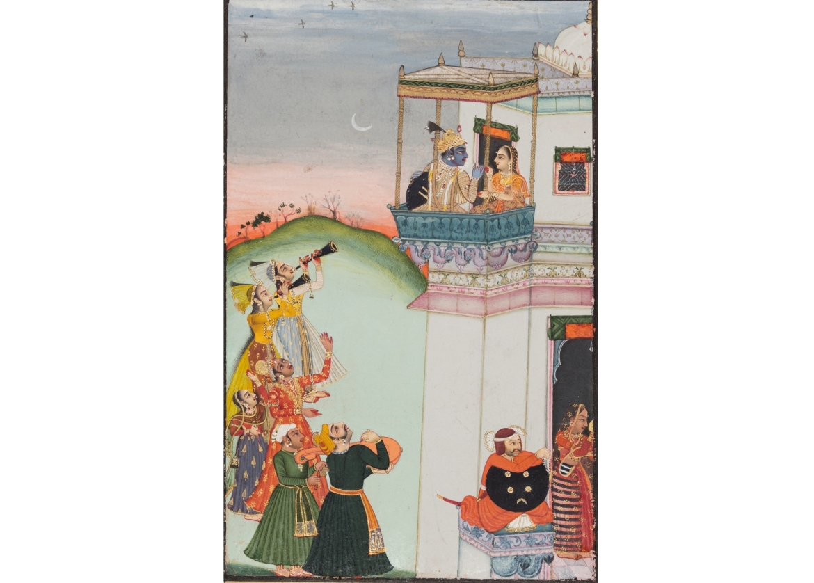 Krishna and Consort on a Palace Balcony with Musicians - Kota or Bundi