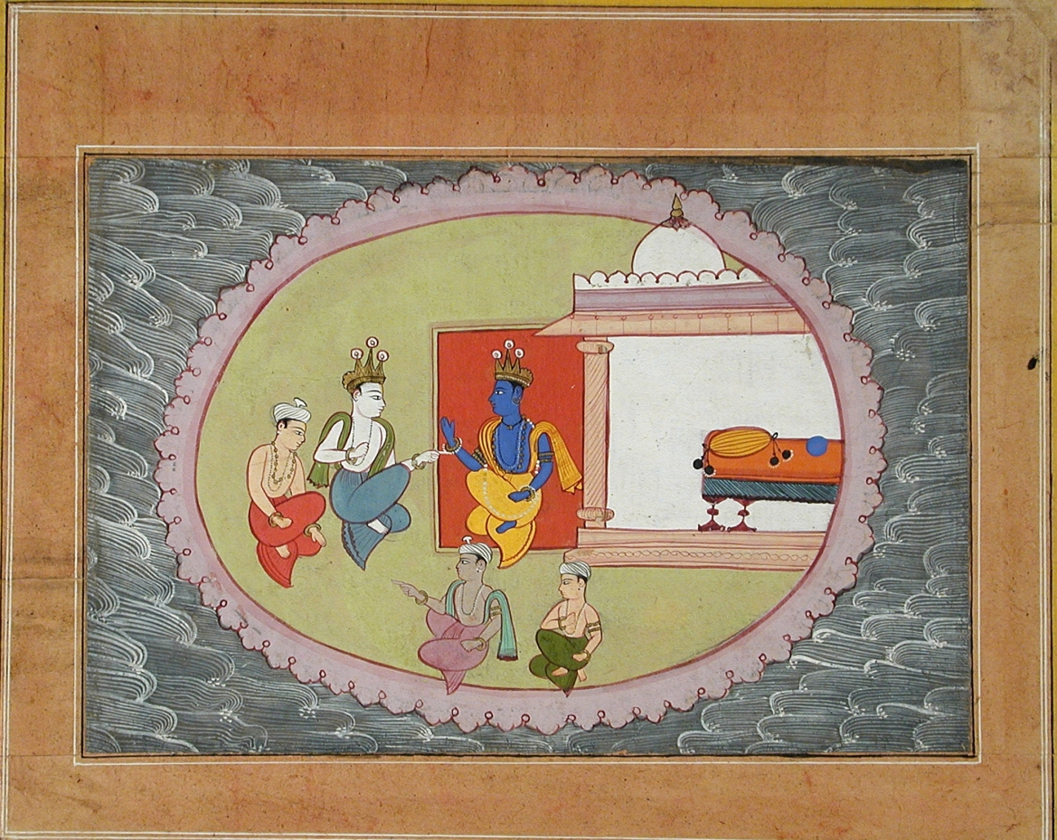 Krishna and Balaram Conversing, Folio from a Bhagavata Purana