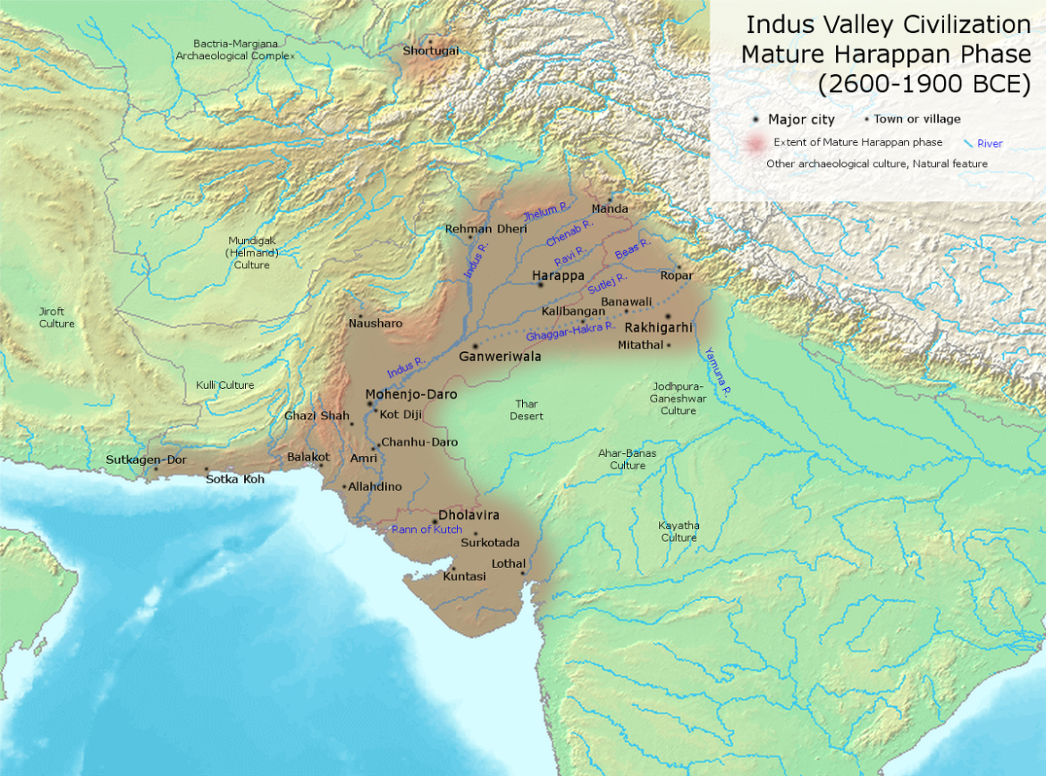 Extend of Indus Valley Civilization during the Mature Phase