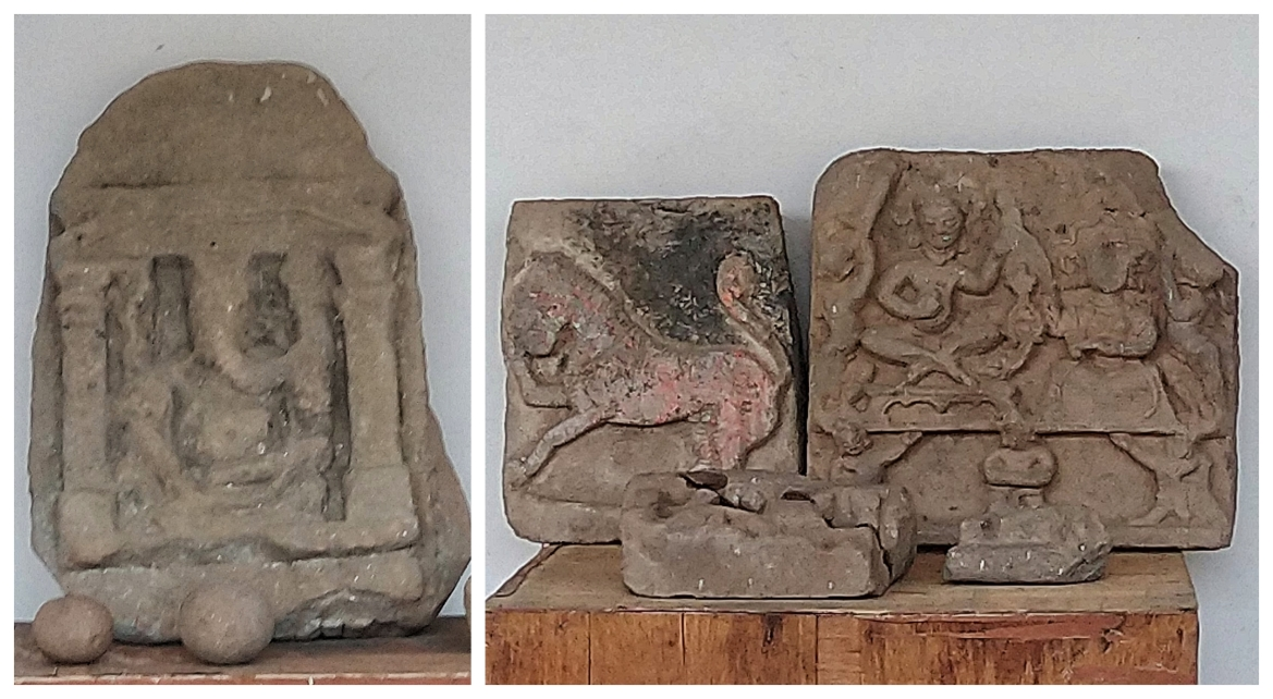 Slabs depicting Ganesha, lion and a goddess.