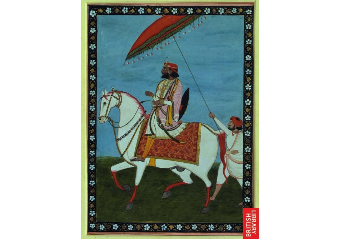 Maharaja Gulab Singh rides a decorated stallion,  ca. 1840-45.