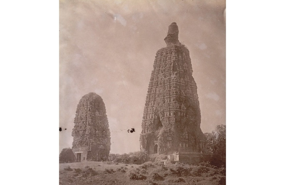 Ruins of the Mahabodhi Temple before restoration