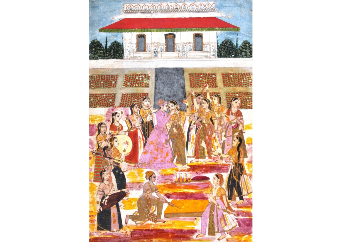 A Prince playing Holi in harem, Hyderabad, 1800