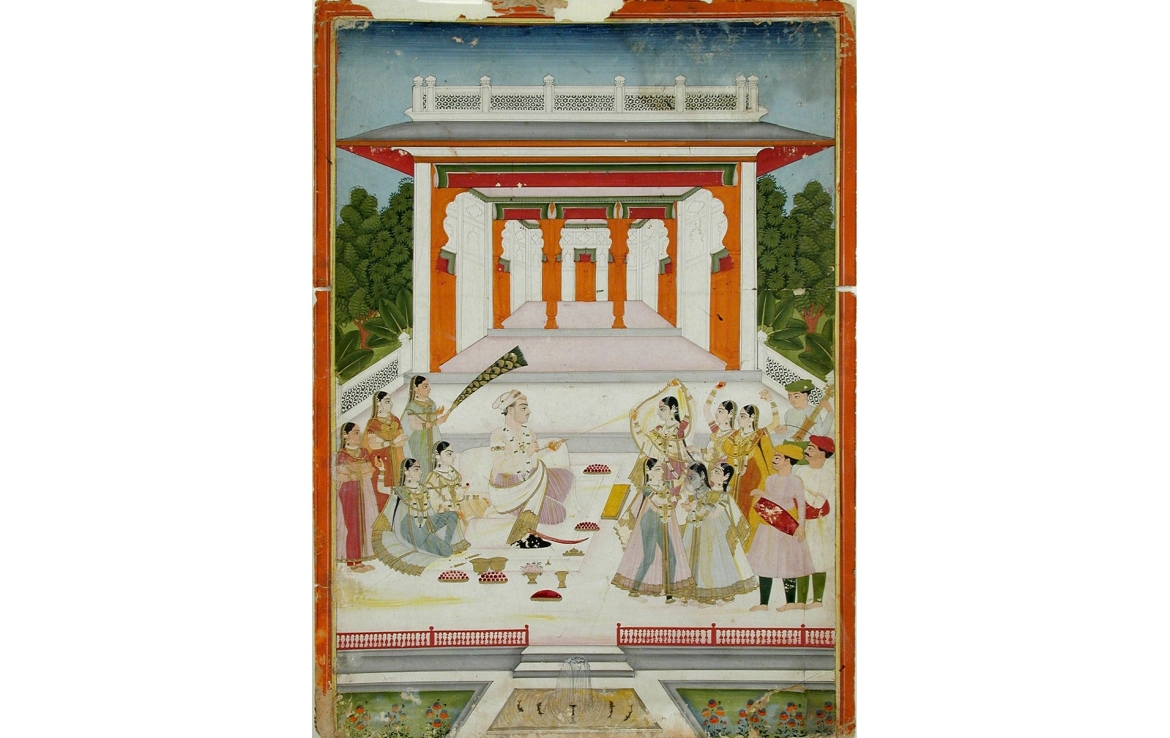 A Maharaja playing Holi with women near a garden pavillion, Deccani, 1765