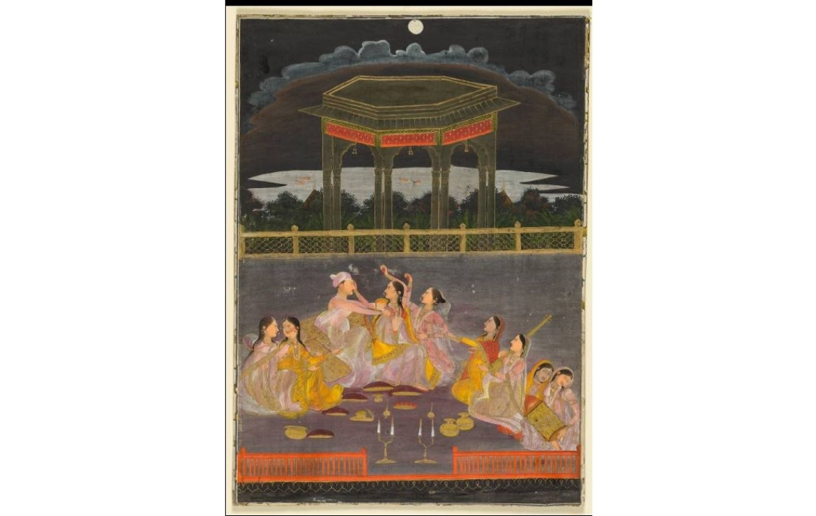 A prince celebrating Holi with his harem ladies, Farrukhabad Mughal, 1760