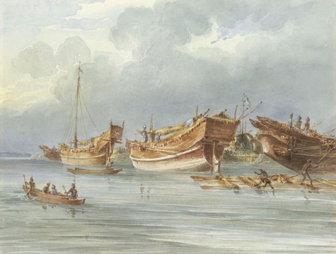 Ships moored off Chittagong, 1820s