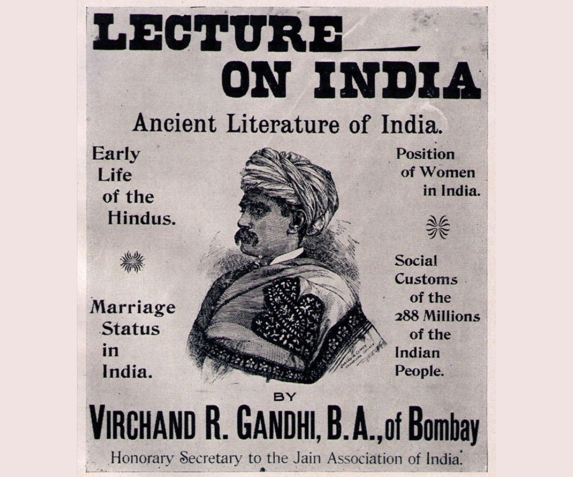 Poster announcing lecture by Virachand Gandhi