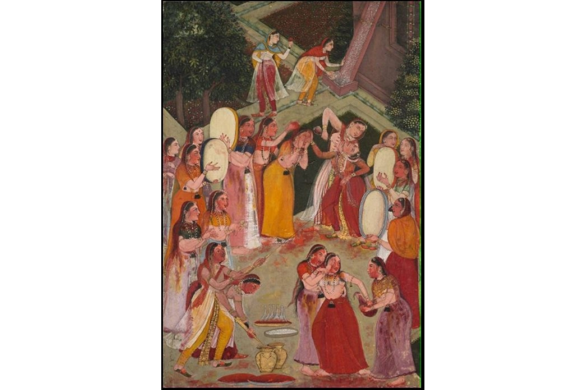 Girls celebrating Holi, Bikaner 1640-50