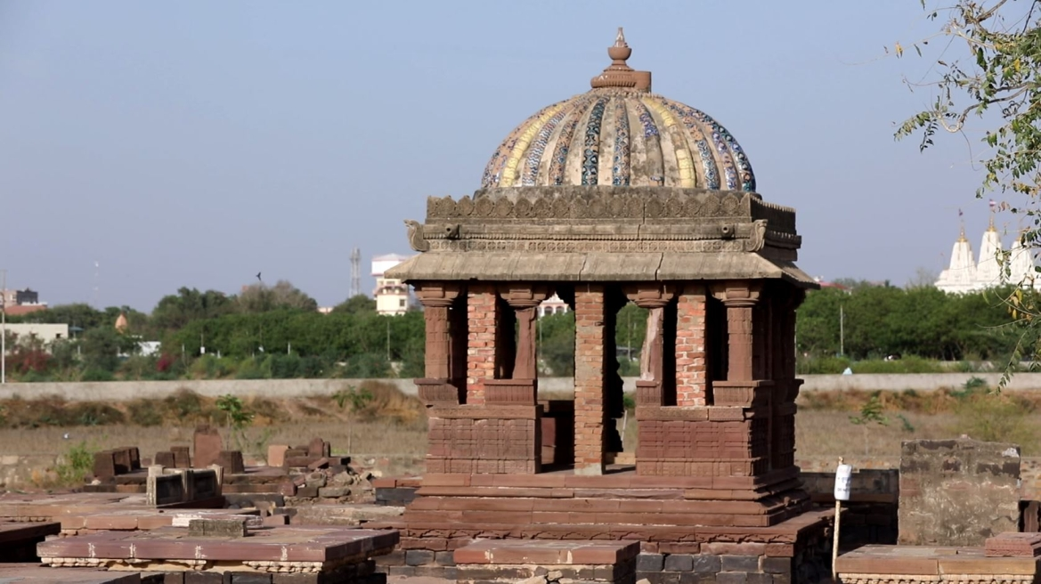 Chhatri with blue tiles