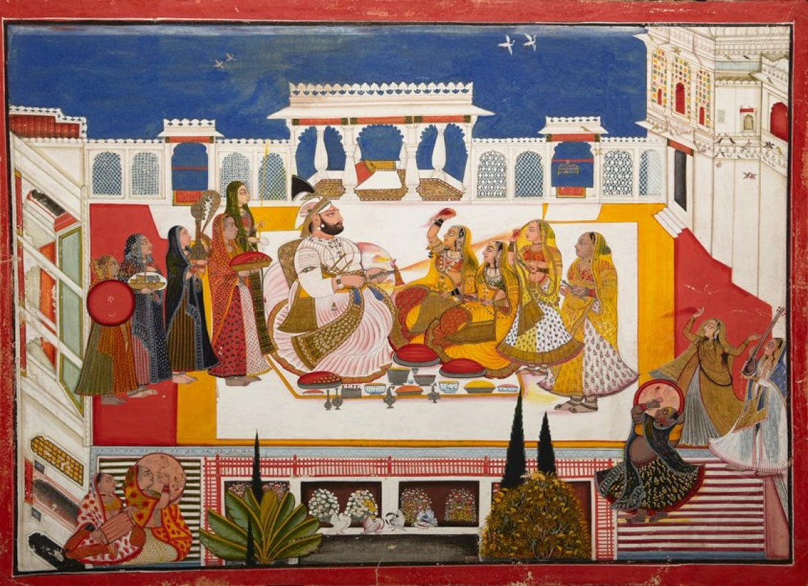 Portrait of Rawat Gokal Das celebrating Holi with his consorts,1808