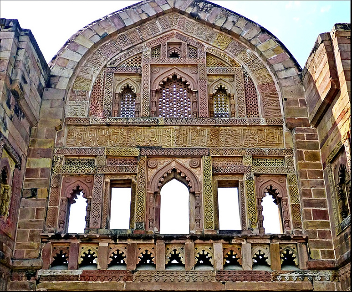 Heavy latticework at Jhinjhiri Masjid