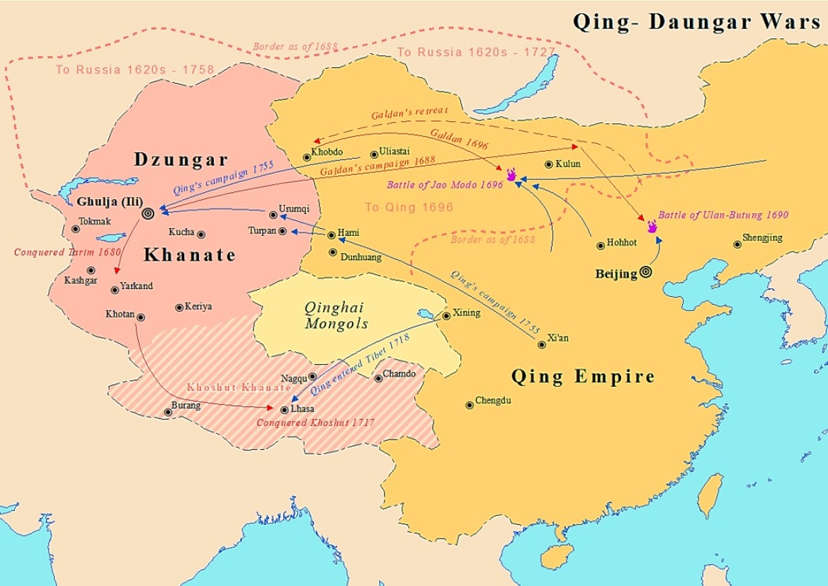 Map showing the Dzungar Khanate in the 18th century