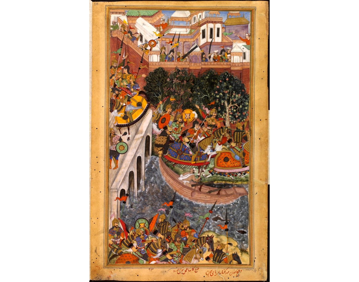 The Victory of Emperor Akbar over Ali Quli and Bahadur Khan at the Gomti River, Jaunpur, 1561 CE,  painted by court artist Kanha in 1590-95 CE, from Akbarnama