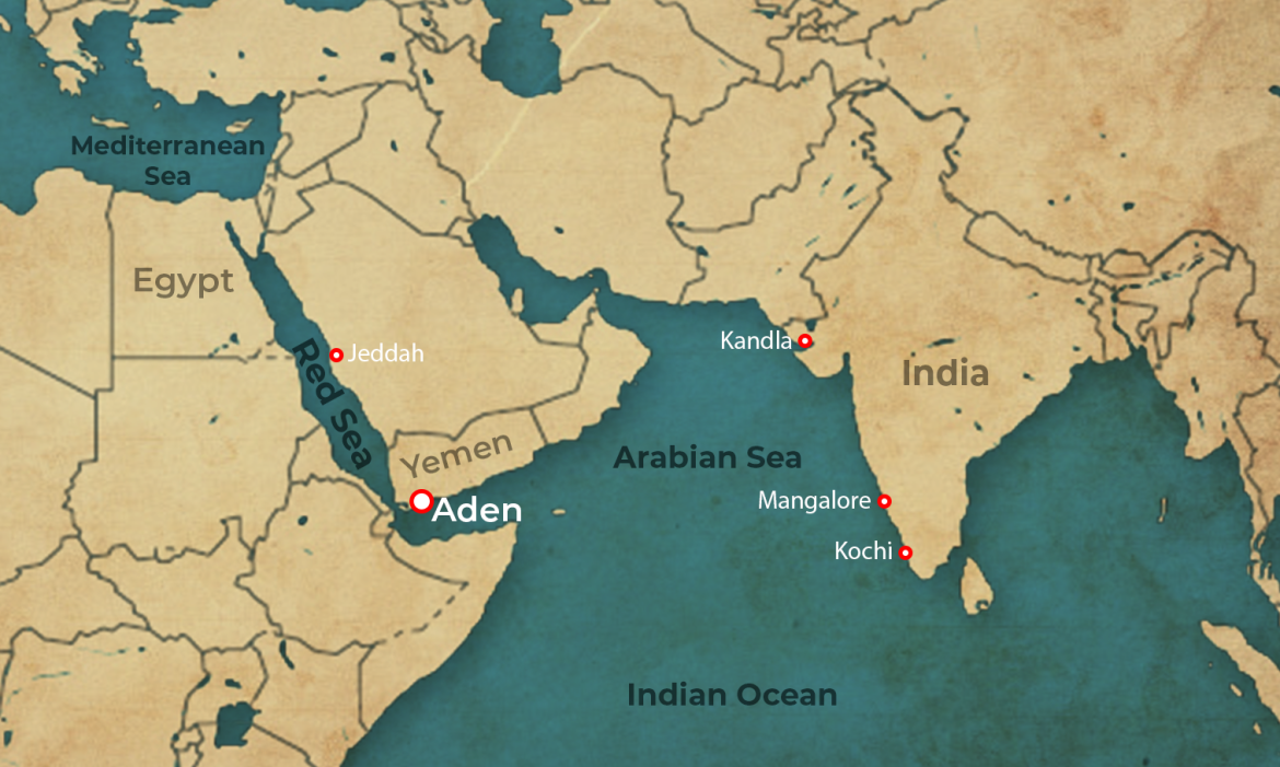 Aden is located smack opposite the Mangalore port in India