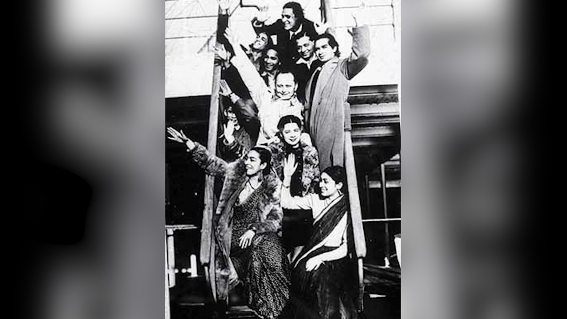 Zohra Sehgal (bottom left) touring with Uday Shankar