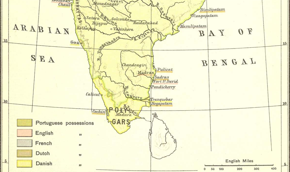 Map of India with region ruled by Polygars