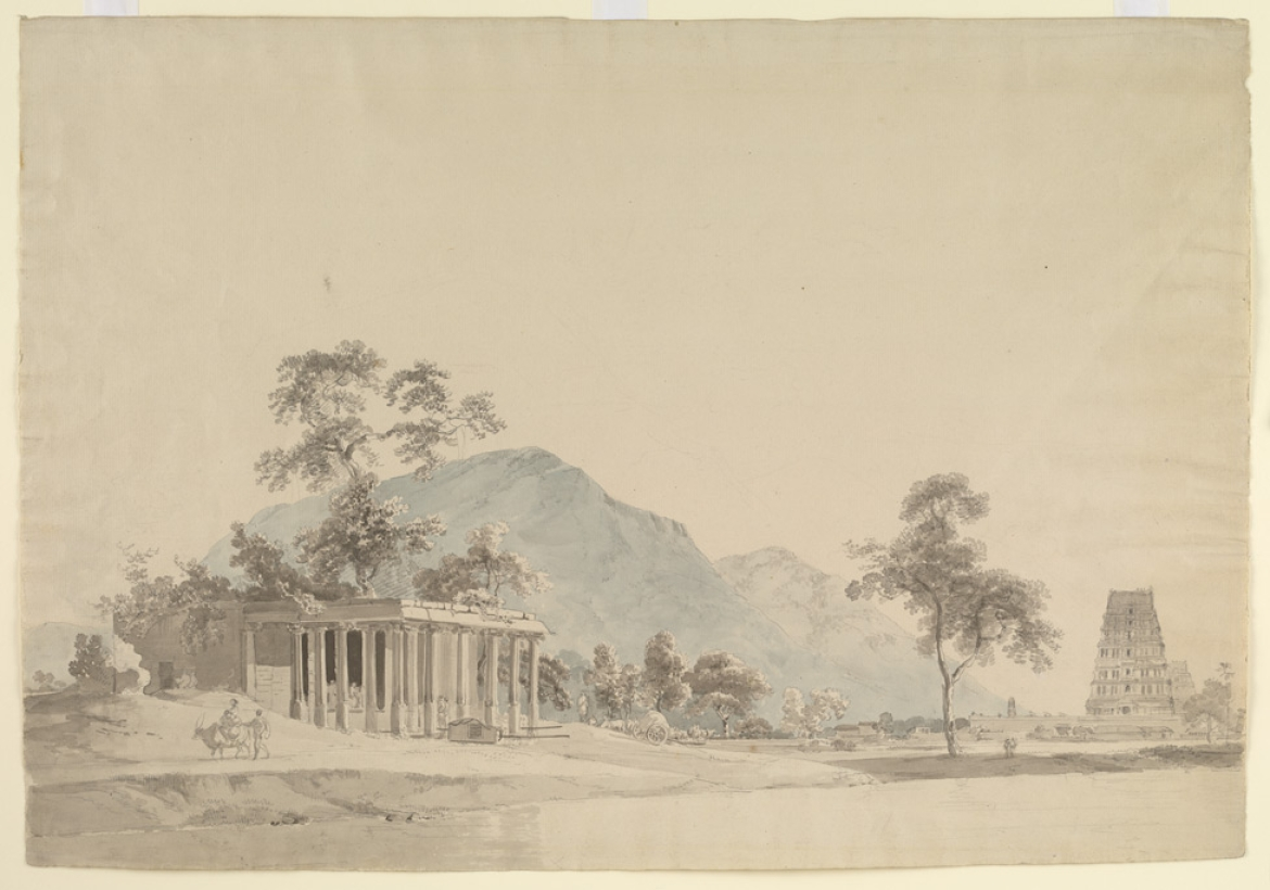 Pencil and wash sketch of Binjaveram Choultry in Tirunelveli District, William and Thomas Daniell, 1792