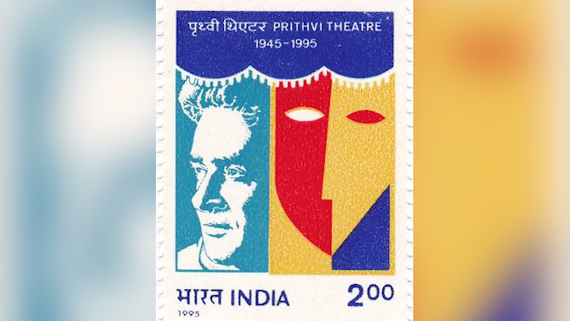 A 1995 stamp dedicated to  Prithviraj Kapoor and Prithvi Theatres