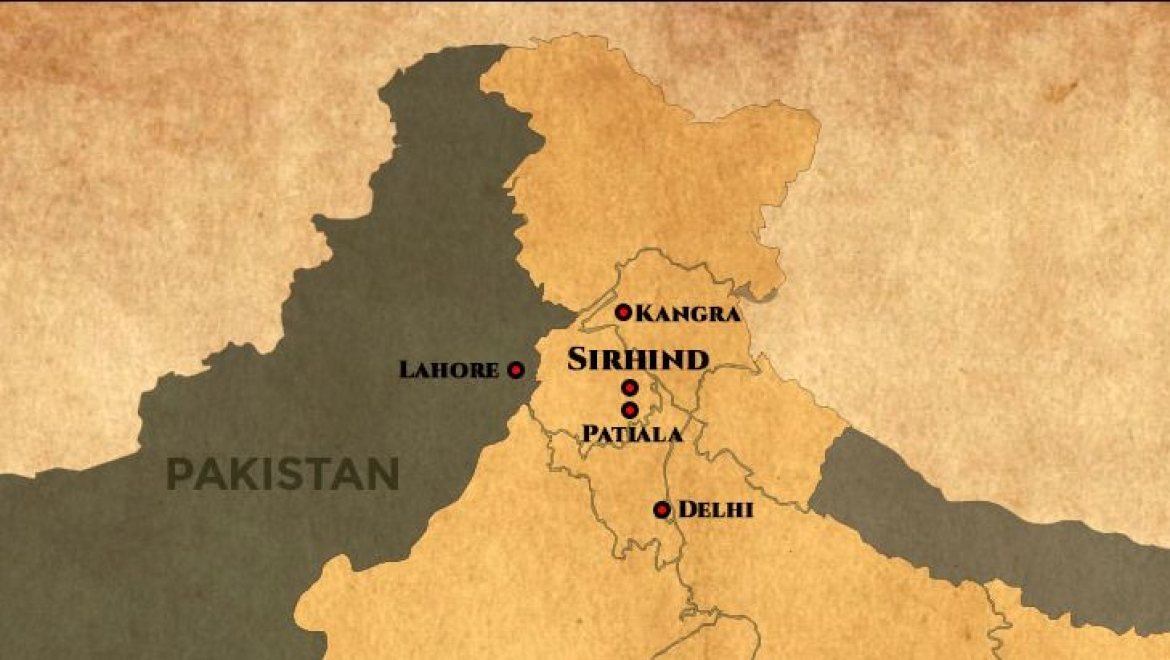 Location of Sirhind in between Delhi and Lahore