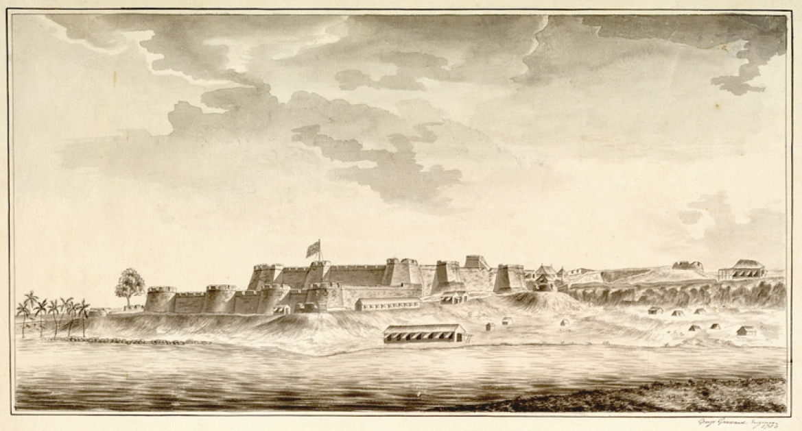 A 1783  drawing of Mangalore Fort after it had been captured by the British East India Company