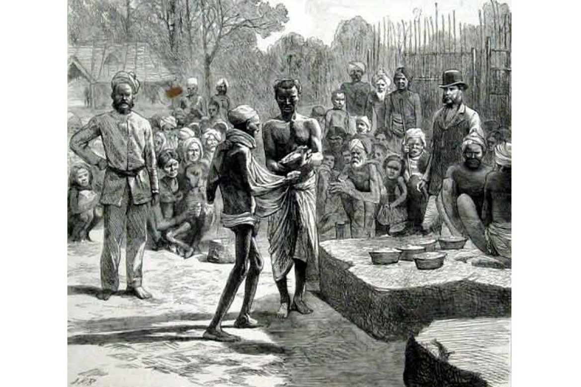 Relief camp at Monegar Choultry, Madras, 1877