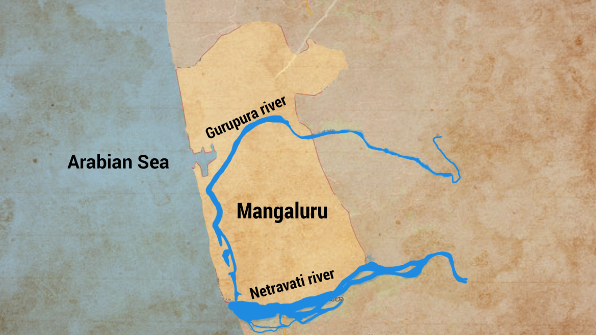 Outline of Mangaluru with the rivers