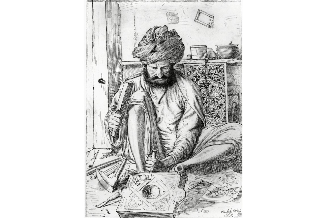 Woodcarver in Shimla by John Lockwood Kipling