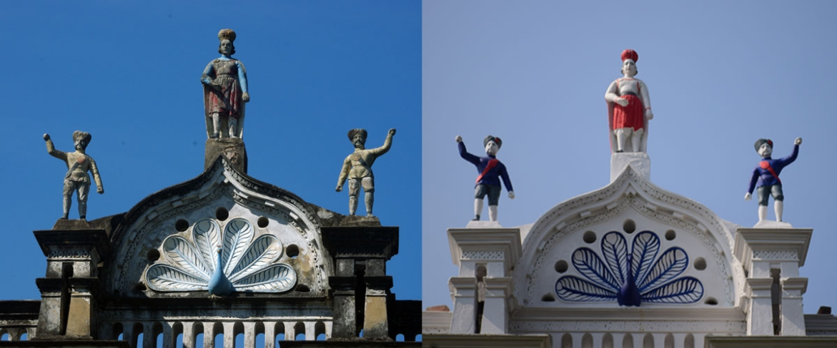 Statues on top of Ballav House (Left taken in 2013, Right in 2019)