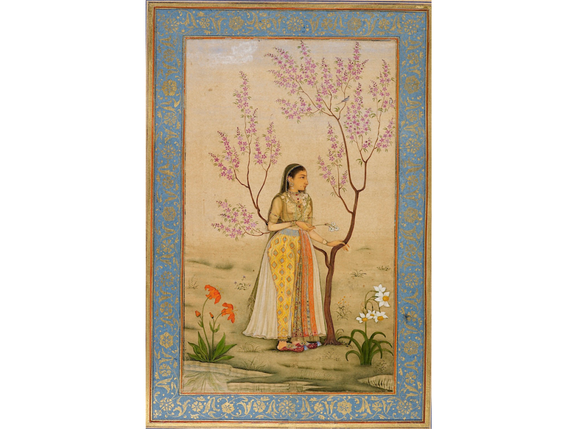 Lady With A Narcissus, Perhaps Mumtaz Mahal, attributed to Bishndas, 1631-33