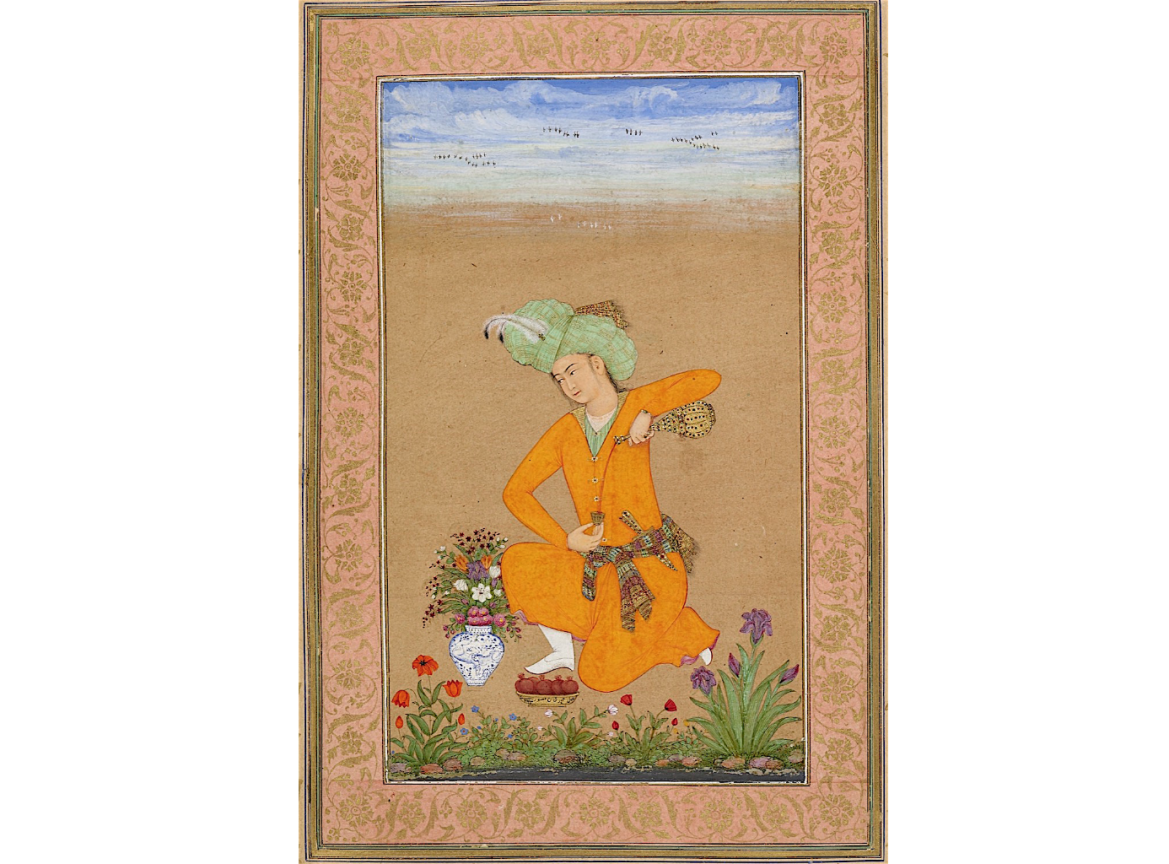 A Prince Pouring Wine, ascribed to Muhammad Khan and dated 1043/1633-4
