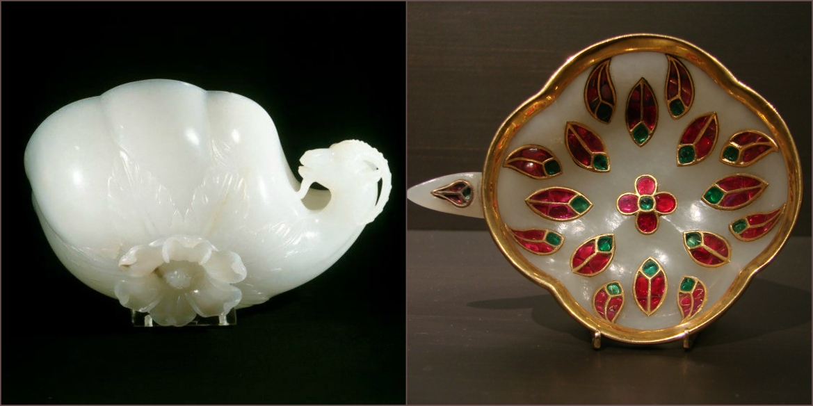 Shah Jahan's wine cup, 1657 CE & Mughal cup inlaid with precious stones, 18th Century CE