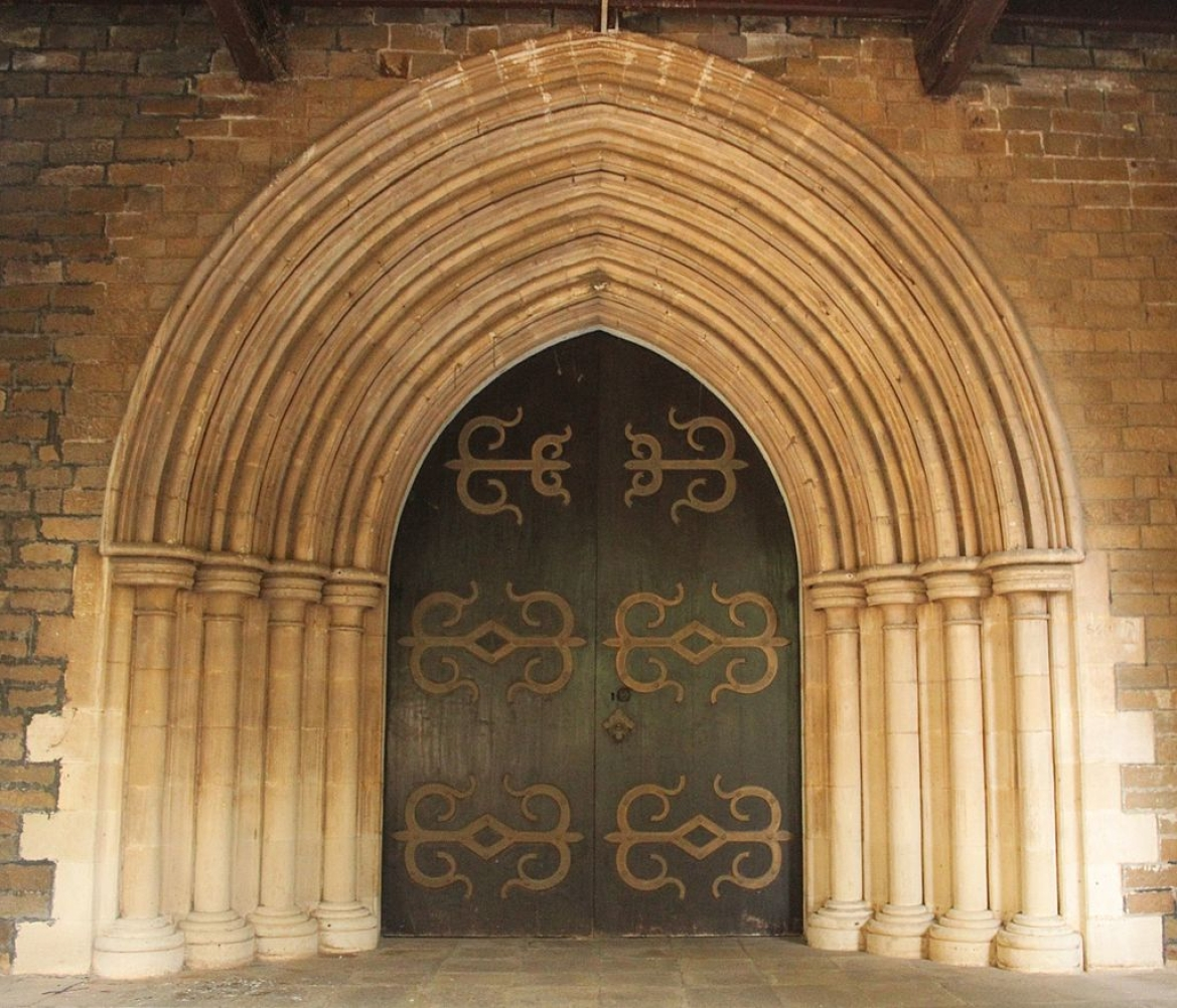 The doorway of the church