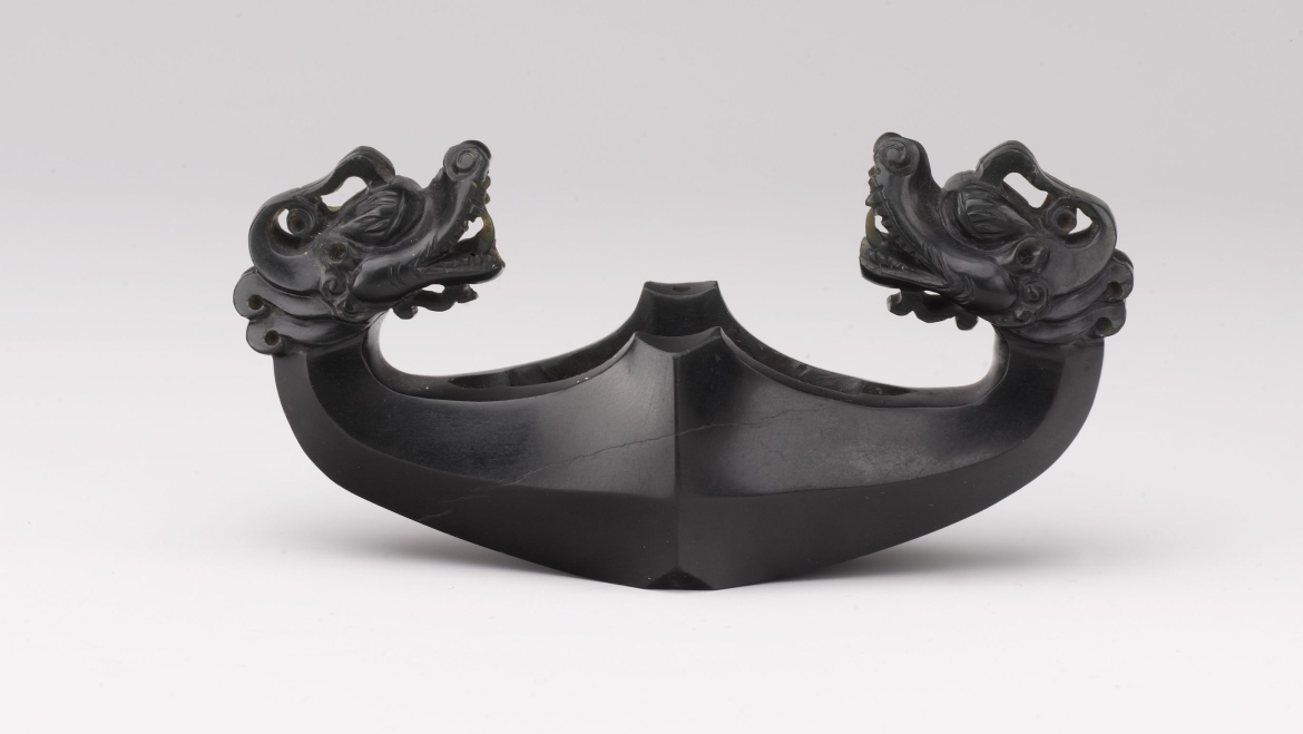 Sword Guard in the Form of Confronted Dragons, black nephrite, Timurid 14th-15th Century CE
