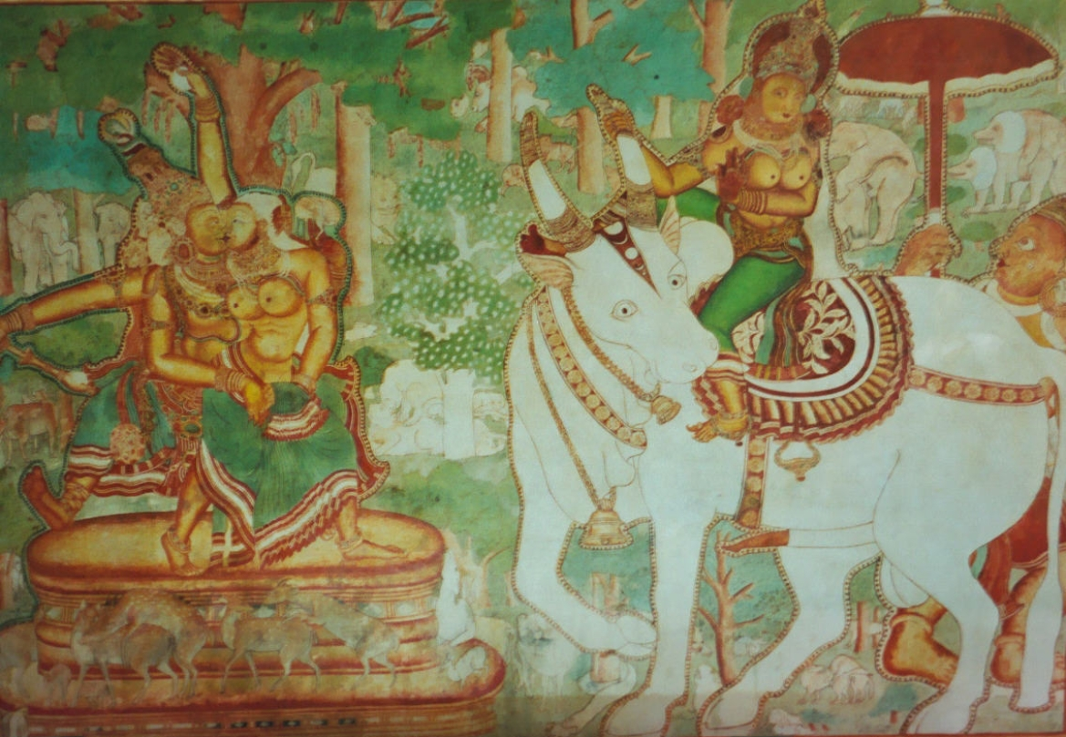 Mural at Mattanchery Palace depicting Shiva in an intimate pose with Mohini (a female avatar of Vishnu), while Parvati who is seated on a white bull looks on at them in distaste. The 16th century Mattanchery Palace was gifted by the Portuguese to the king of Kochi and the paintings were done under the patronage of the Varma kings of Kochi.