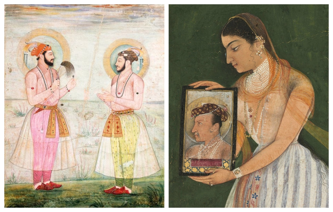 Mughal men and women in muslin