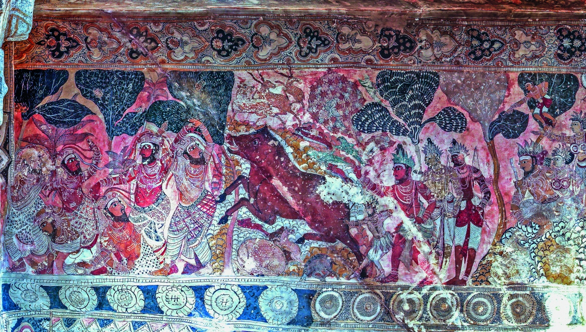 Panel A7, Scene 15, detail of 'Shiva and Parvati accompanied by their retinue'
