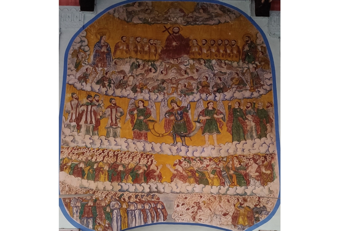 Depiction of the Last Judgement at the St Mary Sunoro Church in Angamaly. The palette is very different from that in temples and palaces.