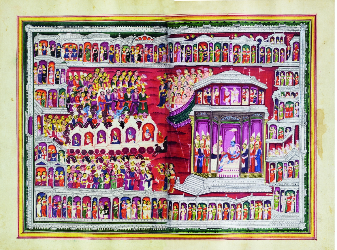 Krishna and his family are received at Indraprastha by the Pandavas