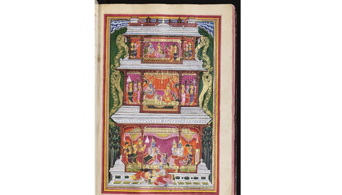 A lover's exchange; Krishna first teases and then consoles Rukmini
