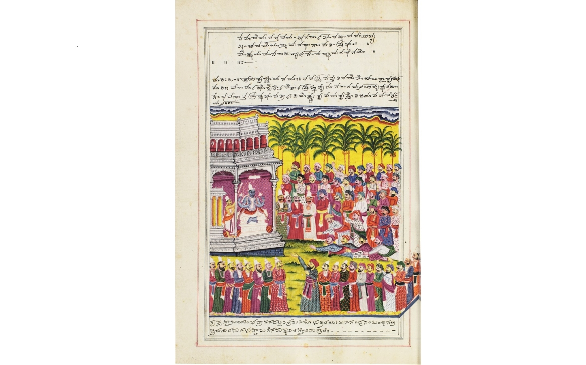 The kings released from Jarasandha's captivity pay homage to Krishna