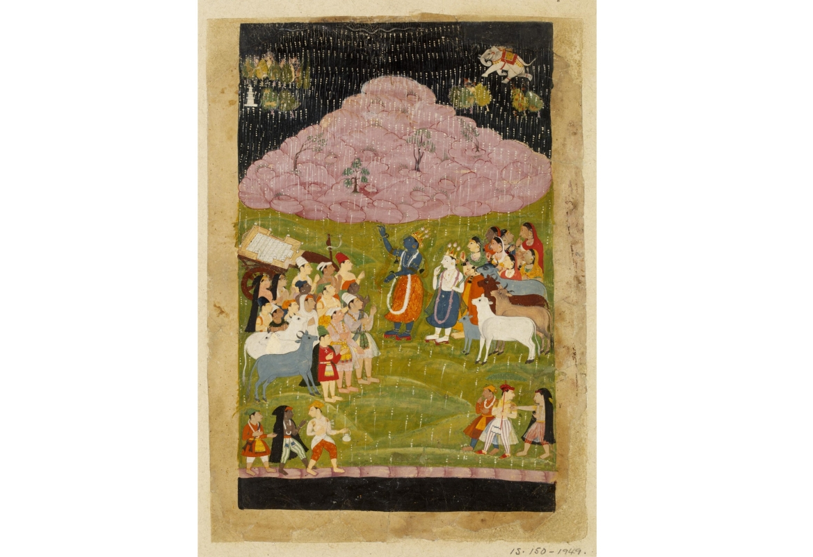 Krishna lifting the Govardhan mountain