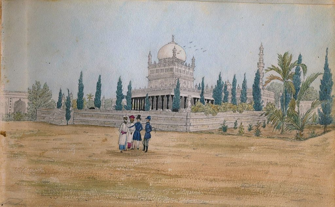 Hyder Ali and Tipu Sultan's Tomb at Lalbagh, a painting by Henry Jervis, c. 1832