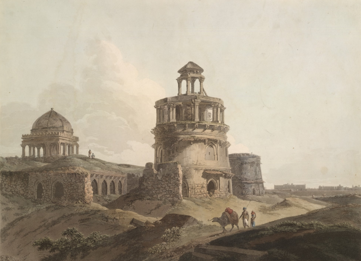 Remains of an Ancient Building near Firoz Shah's Cotilla, Thomas Daniell (1795)
